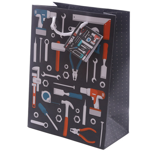 Fun Dad Tool Design Medium Glossy Gift Bag