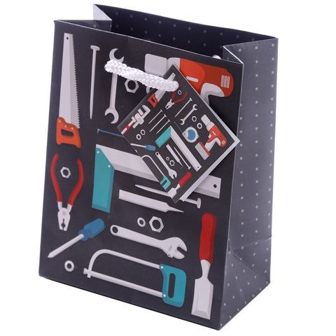 Fun Dad Tool Design Small Glossy Gift Bag