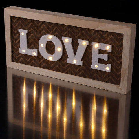 Decorative LED Wall Decoration - LOVE with Patterned Backing