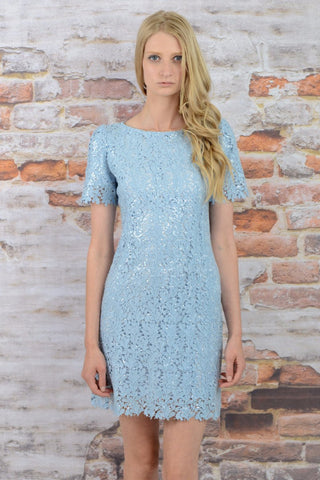 LIGHT PAISLEY SEQUIN SHIFT DRESS