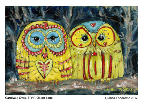 "Carnivale Owls Original Oil Painting 6""x4"""
