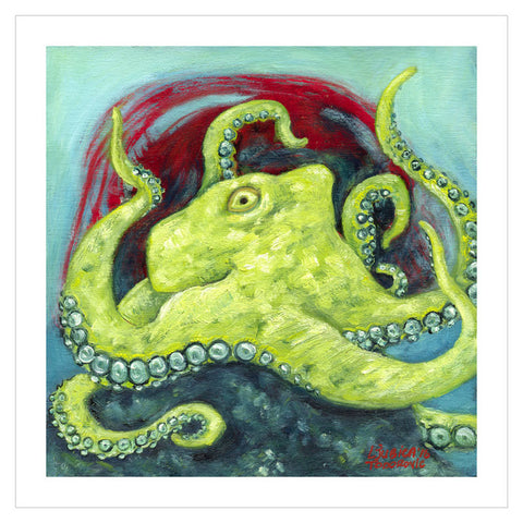 "Greentopus Original Painting 8""x8"""