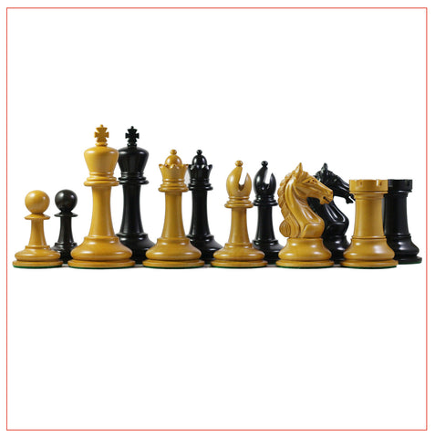 Antique Warrior 4″ Ebony Wood Staunton Chessmen - The Chess Store