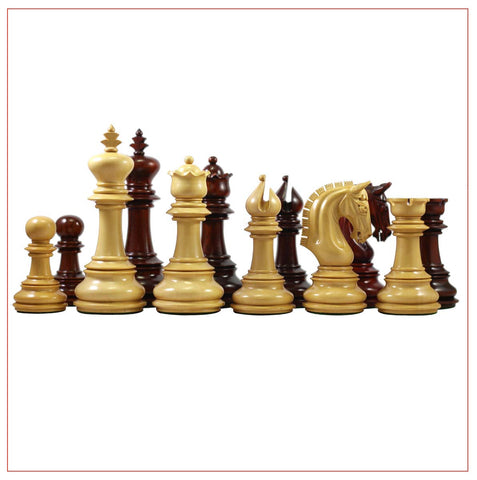 Alexandria Series 4.5″ Premium Staunton Padouk Wood Chessmen - The Chess Store
