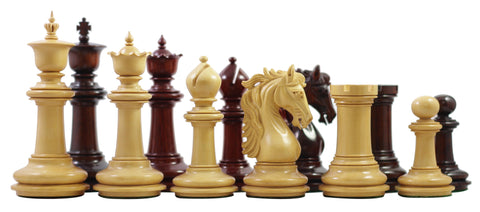 "Kelso Series Padouk & Boxwood 4.4"" King Chess Pieces - The Chess Store"