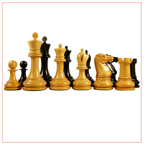 Circa 1900-01 Ebony and Boxwood Staunton Chess Pieces - The Chess Store