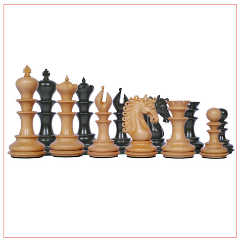 Ostia Series 4.4″ Ebony Wood Staunton Chess Pieces - The Chess Store