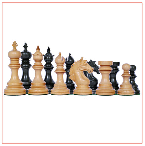 Patras Series 4″ Ebony Wood Staunton Chess Pieces - The Chess Store