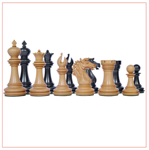 Regal Series 4″ Ebony Wood Staunton Chess Pieces - The Chess Store