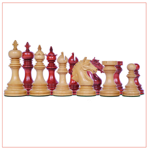 Patras Series 4″ Padouk Wood Staunton Chess Pieces - The Chess Store