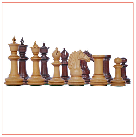 Mecadon Series 4.4″ Padouk Wood Staunton Chess Pieces - The Chess Store