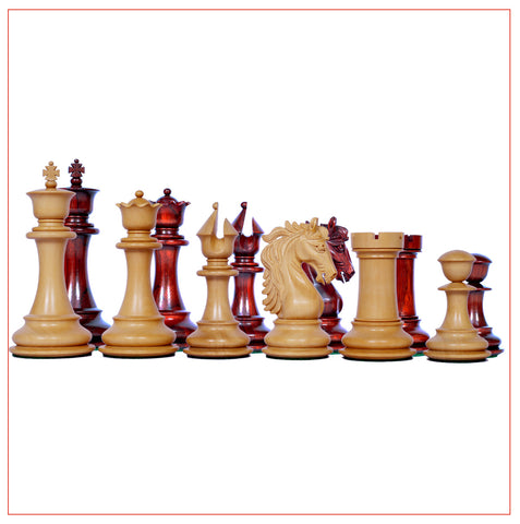 Heritage Series Staunton 4.4″ African Padouk Chess Set - The Chess Store