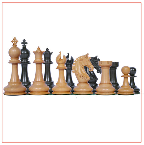 Aristocrat Series Ebony Wood 4.1″ Staunton Chess Pieces - The Chess Store