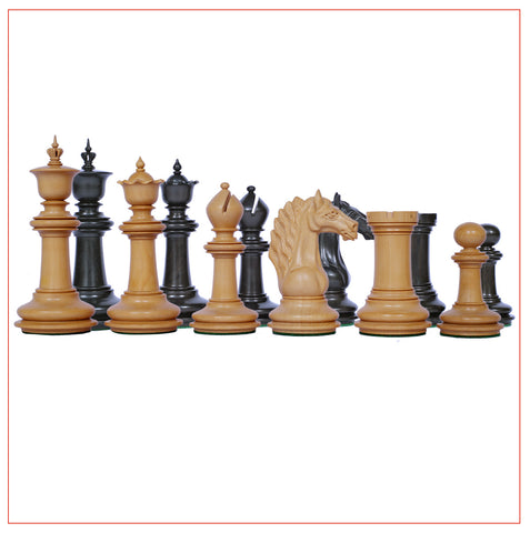 Macedon Ebony and Boxwood Chess Pieces - The Chess Store