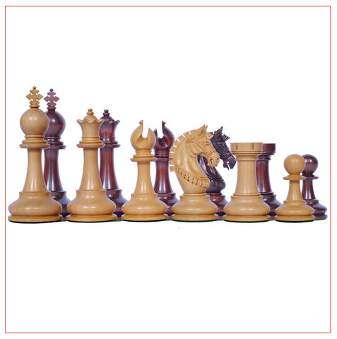 Aristocrat Series Padouk Wood 4.1″ Staunton Chess Pieces - The Chess Store