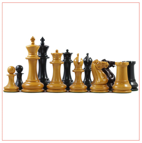 1851 Staunton Ebonised Antique Chess Pieces - The Chess Store