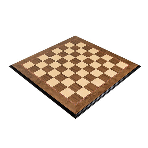 Walnut and Maple Avadia Mould Edge Chess Board - The Chess Store