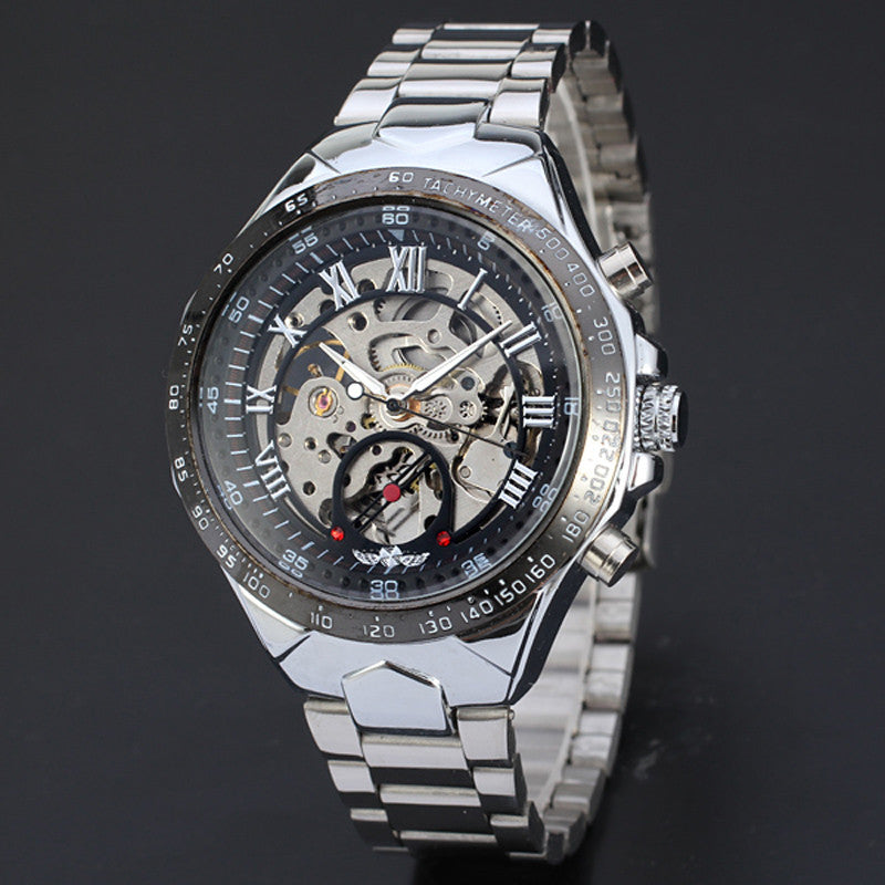 New Skeleton Mechanical Watches For Men Stainless Steel Wrist Watch - WS Direct