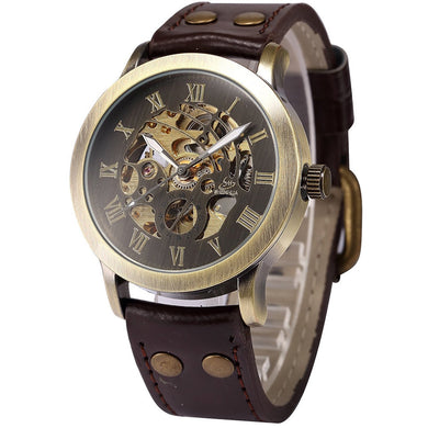 Men's Steampunk Bronze Skeleton Self-Winding Auto Mechanical Leather Wrist Watch - WS Direct