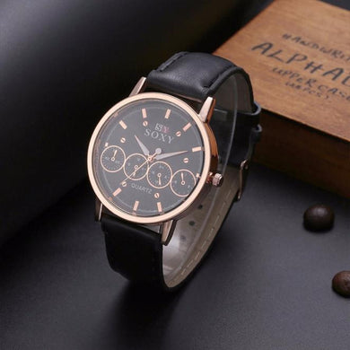 Men's Fashion Stainless Steel Leather Band Analog Quartz Luxury Wrist Watch - WS Direct