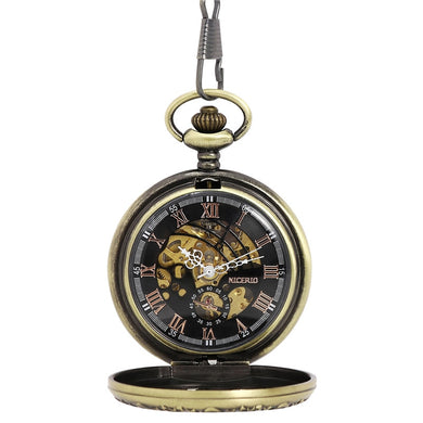 NICERIO Retro Bronze Skeleton Windup Steampunk Semi-Auto Mechanical Roman Numerals Pocket Watch with Fob Chain - WS Direct