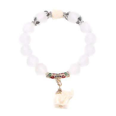 Natural Frosted Elephant Bracelet - WS Direct