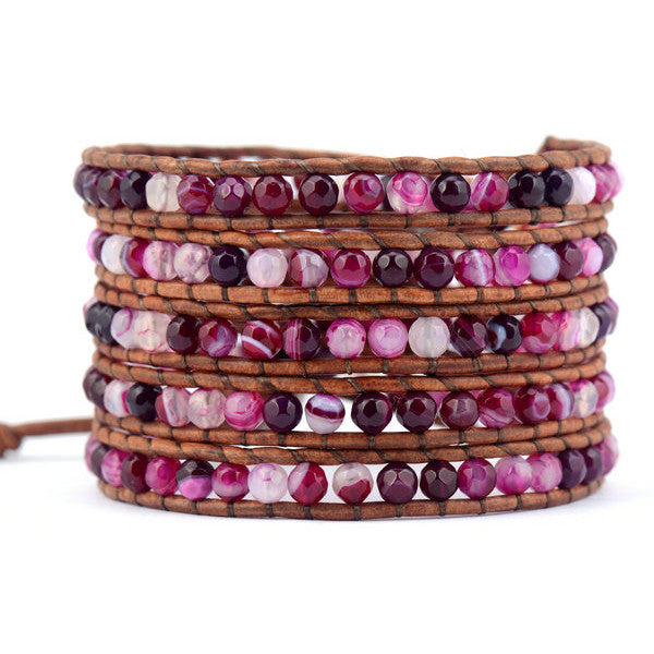4MM Faceted Agate Natural Stone Wrap Bracelet - WS Direct