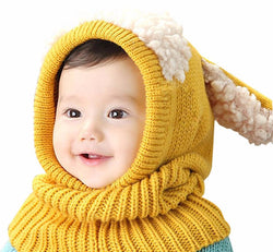 Warm Cotton & Wool Baby Winter Hat & Built-in Scarf - Wow Great Gifts