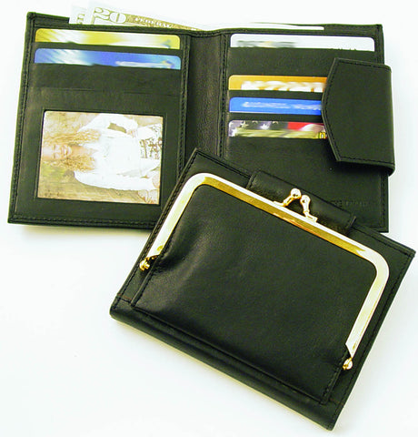 Black Genuine Leather Wallet with Snap Coin Purse Feature - Wow Great Gifts