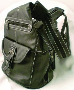 Genuine Black Leather Dual Handbag Backpack - Wow Great Gifts