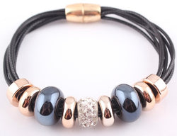 Beaded PU Leather Bracelet w/Magnetic Clasp - Wow Great Gifts