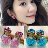 Double Sided Flower & Crystal Ball Stud Earrings - Wow Great Gifts