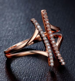 Trendy Open Face Rose Gold or Platinum Plated Ring - Wow Great Gifts