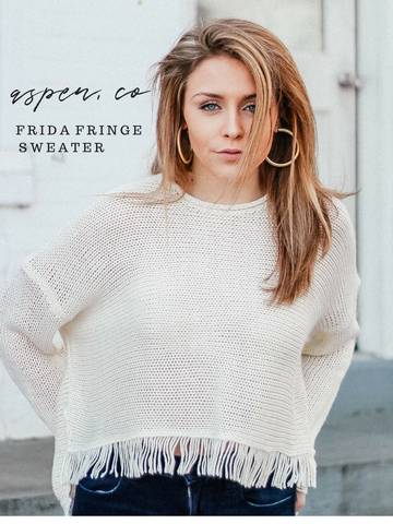Show Me Your Mumu Frida Fringe Sweater White Cozy Aspen Colorado