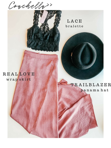 Coachella Festival Sage the Label Real Love Wrap Skirt Black Lace Bralette Panama Hat
