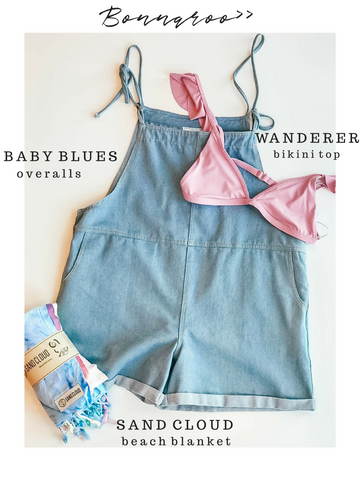 Bonnaroo Festival Sage the Label Baby Blue Overalls Spiritual Gangster Wanderer Bikini Top Sand Cloud Beach Blanket