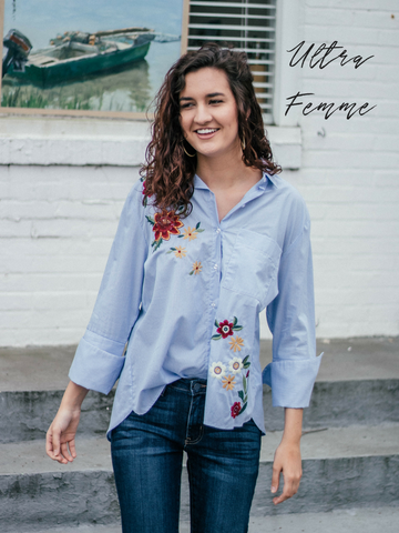 ultra femme girl wearing embroidered blouse and boyfriend denim