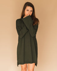 buddy love sibley sweater dress in army green at cote boutique