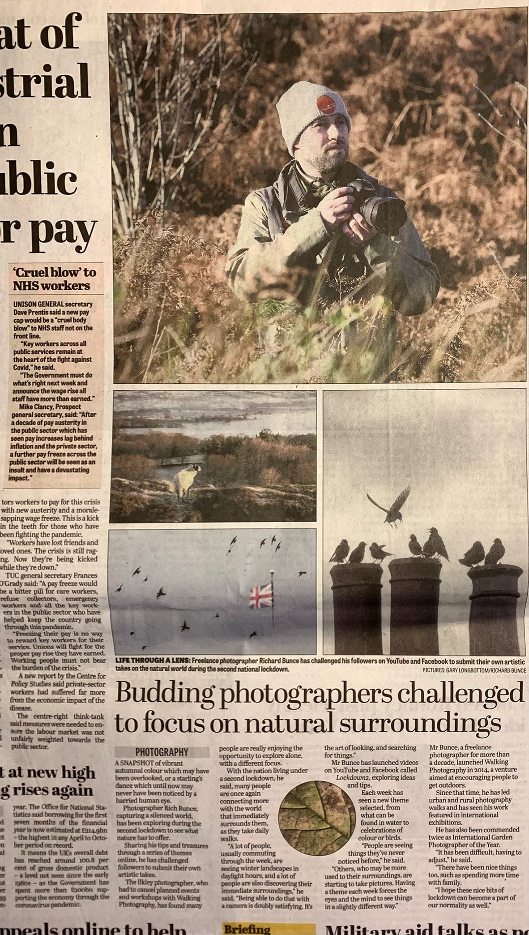 Rich Bunce Walking Photographer in the Yorkshire Post Lockdown Photography Article