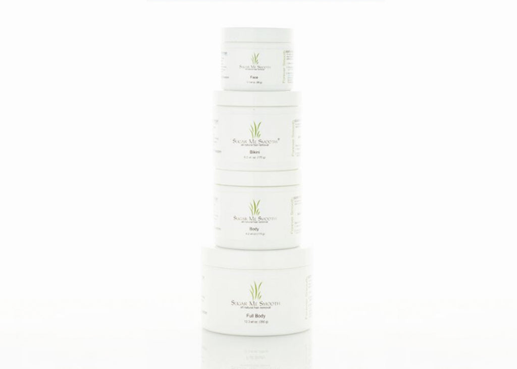 Sugar Me Smooth hair removal product jars.