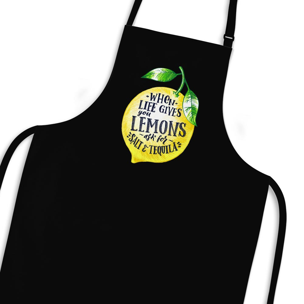 When Life Gives You Lemons Apron - Black - Novelty Aprons - Slightly Disturbed