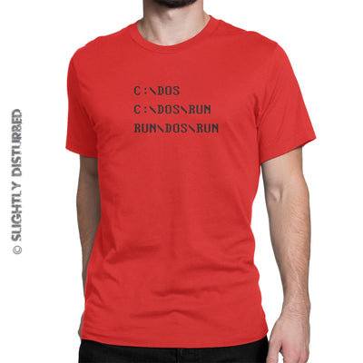 C DOS RUN Men's T-Shirt - Mens T-Shirts - Slightly Disturbed
