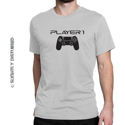 PS4 Player 1 and 2 Men and Kids' T-Shirt Set - Slightly Disturbed