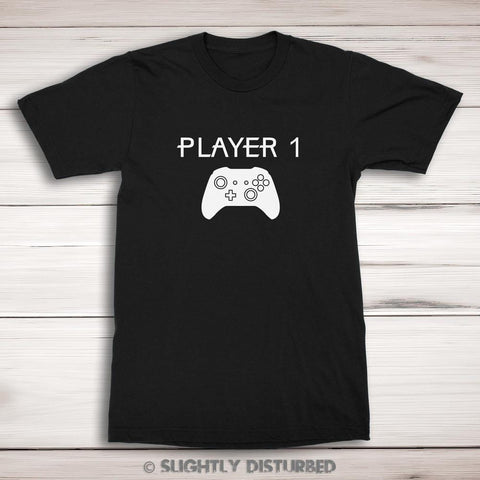 Xbox Player 1 Men's T-Shirt - Gamer T-Shirt - Slightly Disturbed