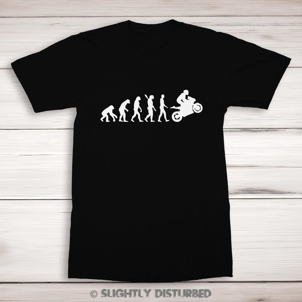 Evolution Of A Biker Men's T-Shirt - Mens T-Shirts - Slightly Disturbed