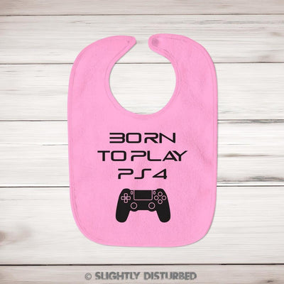 Born To Play PS4 Baby Bib - Bibs - Slightly Disturbed