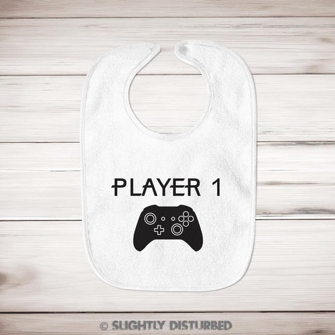 Xbox Player 1 Baby Bib - Gamer Bib - Slightly Disturbed
