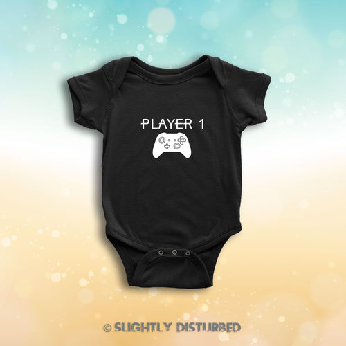 Xbox Player 1 Babygrow - Gamer Babygrow - Slightly Disturbed