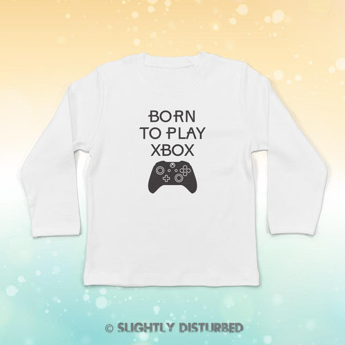 Born To Play Xbox Baby Long Sleeve T-Shirt - Baby T-shirts - Slightly Disturbed
