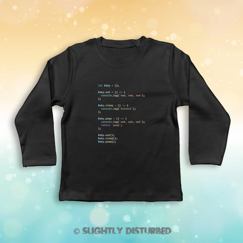 Javascript Coding Baby Long Sleeve T-Shirt - Slightly Disturbed